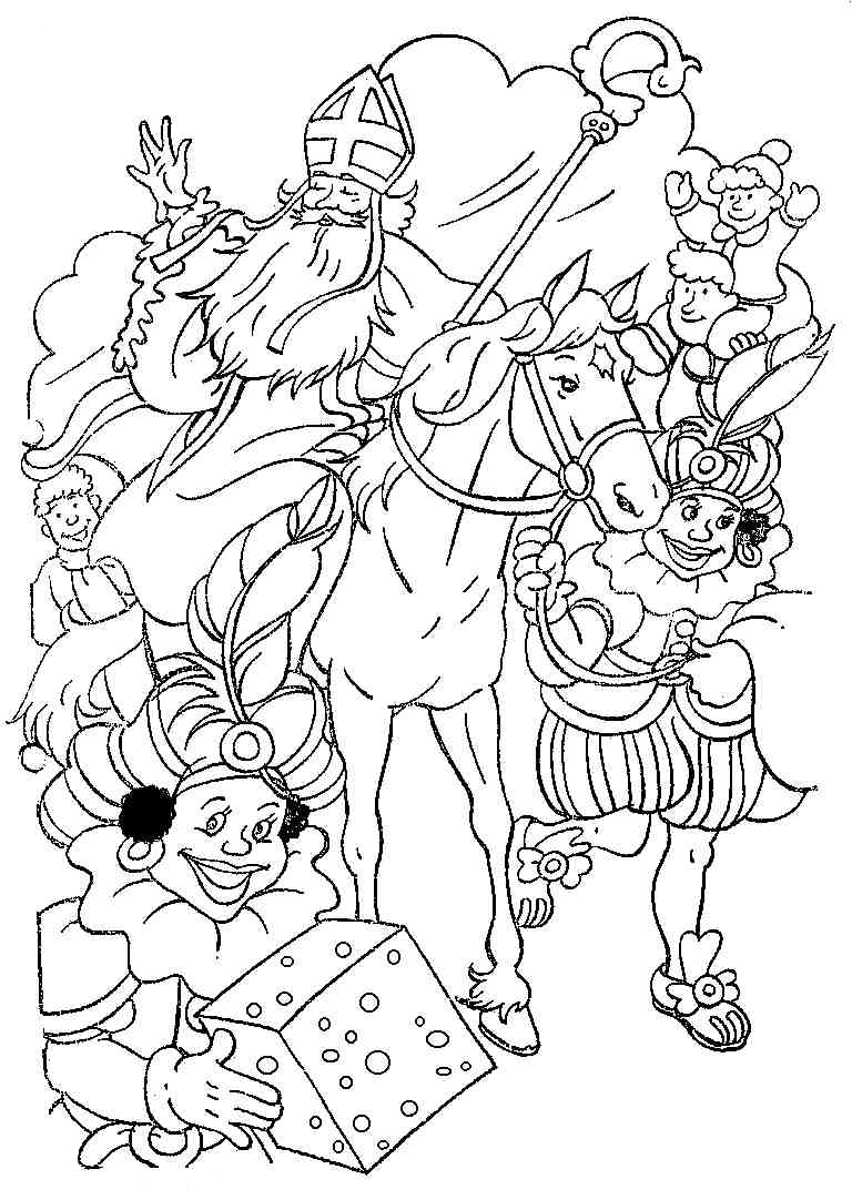 Kleurplaten Sinterklaas Vlaggetjes.Sinterklaas Kleurplaten Sinterklaas En Zwarte Pieten Pakken