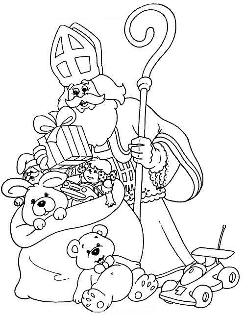 Kleurplaten Sinterklaas Zak.Sinterklaas Kleurplaten Sinterklaas En Zwarte Pieten Pakken